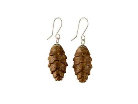Cercei din Lemn Pine Cones