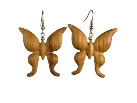 Cercei din lemn Fluture 3D cires