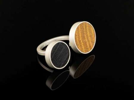 Inel din argint 925 cu lemn Circles
